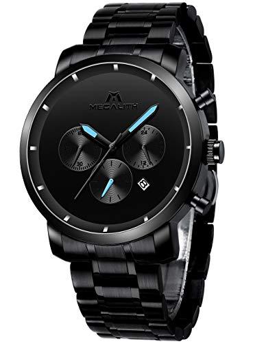 MEGALITH Herren Uhren Männer Militär Schwarz Wasserdicht Chronograph Armbanduhr Mann Mode Datum...