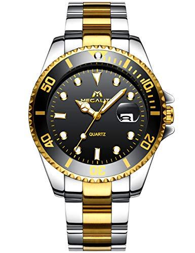 MEGALITH Herrenuhr Gold Edelstahl Herren Armbanduhr Wasserdicht Uhren fur Männer Schwarz...