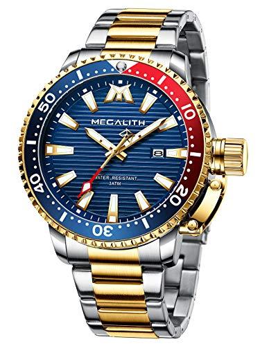 MEGALITH Herren Uhr Edelstahl Herren Armbanduhr Wasserdicht Großes Analog Uhren Herren Datum...