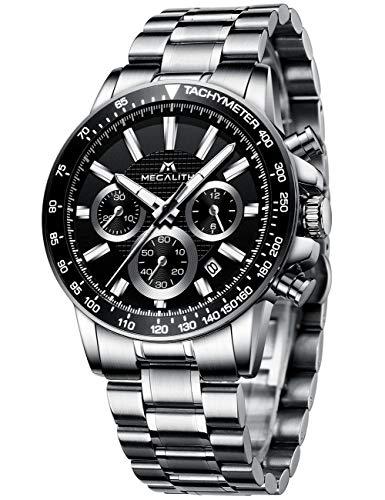 MEGALITH Herrenuhr Chronographen Herren Armbanduhr Silber Edelstahl Wasserdicht Uhren fur Männer...