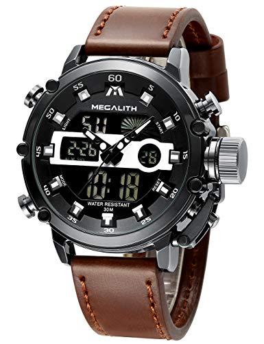 MEGALITH Herrenuhr Militär, Digitaluhr Herren Sport Outdoor Chronograph Groß Armbanduhr Leder...