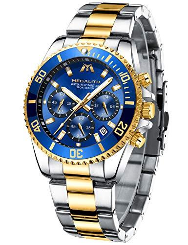 MEGALITH Herrenuhr Edelstahl Chronographen Herren Armbanduhr Großes Wasserdicht Designer Uhren fur...