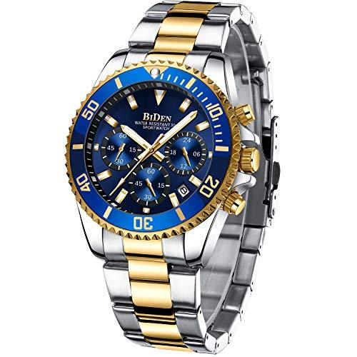Herren Uhr Männer Chronographen Gold Edelstahl Wasserdicht Designer Armbanduhr Herren Militär...