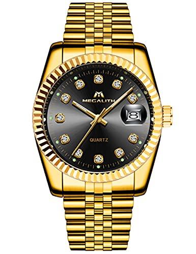 MEGALITH Herrenuhr Gold Edelstahl Wasserdicht Designer Armbanduhren Leuchtende Analog Datum Business...